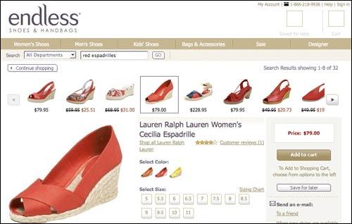 Endless shoe search