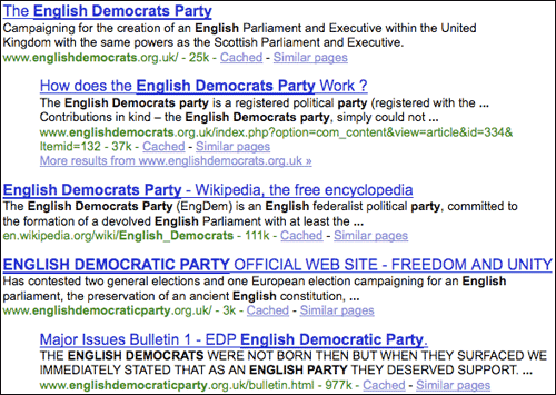 English Democrats Google search results