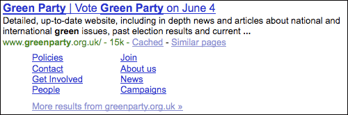 Green Party Google search results