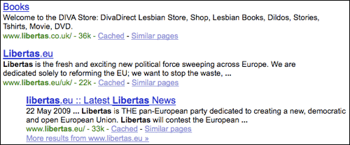 Libertas Google search results
