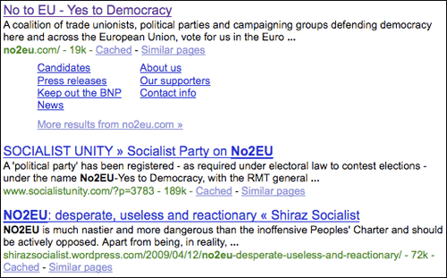 No2EU Google search results