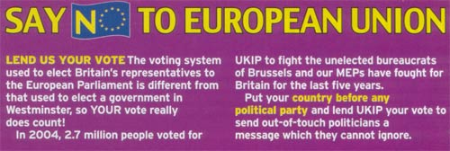 UKIP leaflet explaining the voting system