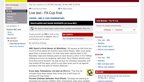 BBC live text coverage of the FA Cup Final