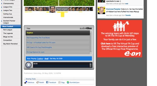 ITV Cup Final AudioBoo widget