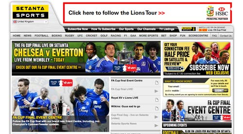 Setanta Sports homepage on FA Cup Final day