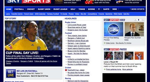 Sky Sports Homepage