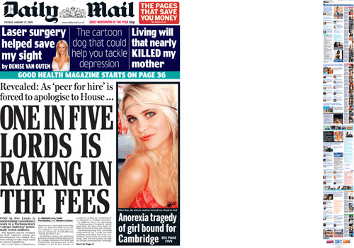 Daily Mail homepage and front page comparison