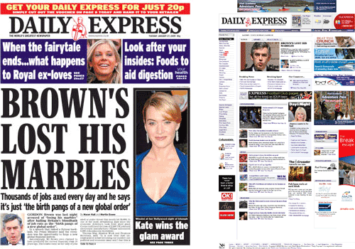 Daily Express homepage and front page comparison