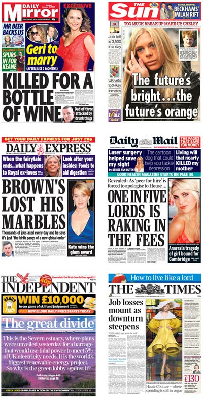 UK newspaper front pages