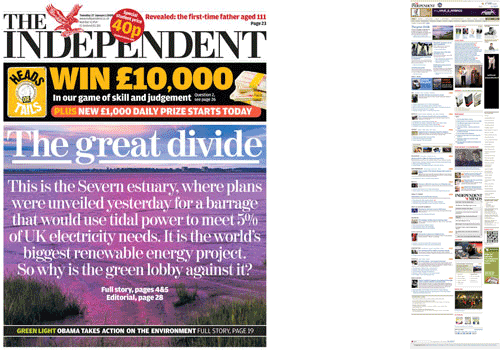 The Independent homepage and front page comparison