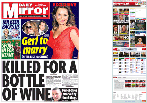 Daily Mirror homepage and front page comparison