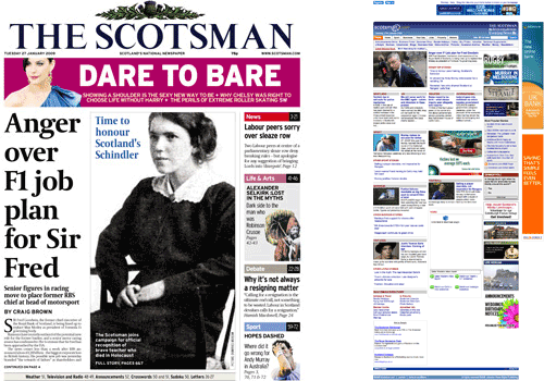 The Scotsman homepage and front page comparison