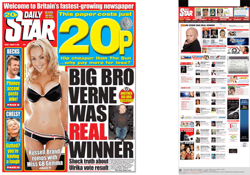 Daily Star homepage and front page comparison