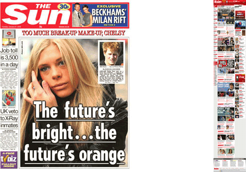 The Sun homepage and front page comparison
