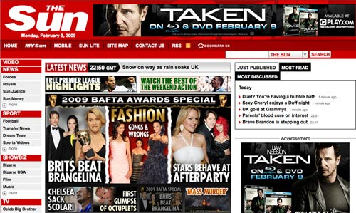 The Sun with 'Taken' advert