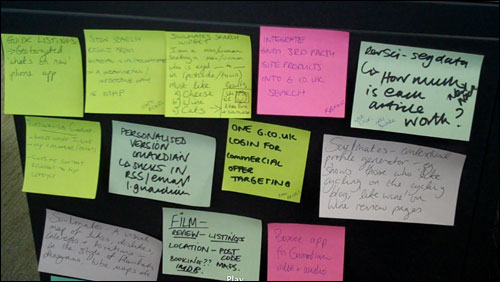 Hack Day ideas on post-it notes