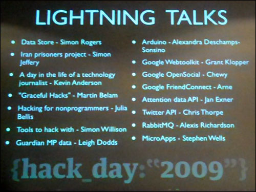 Guardian Hack Day lightning talks schedule