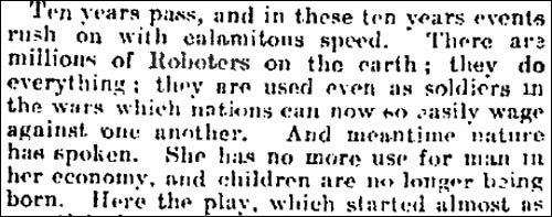 1921 Observer article referring to 'Roboters'
