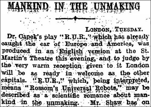 1923 Guardian 'R.U.R.' review