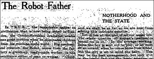 1923 article 'The robot father' in The Guardian