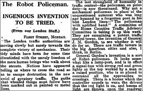 1927 robot policeman article