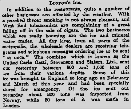 Excerpt from The Guardian's digital archive concerning the London ice trade