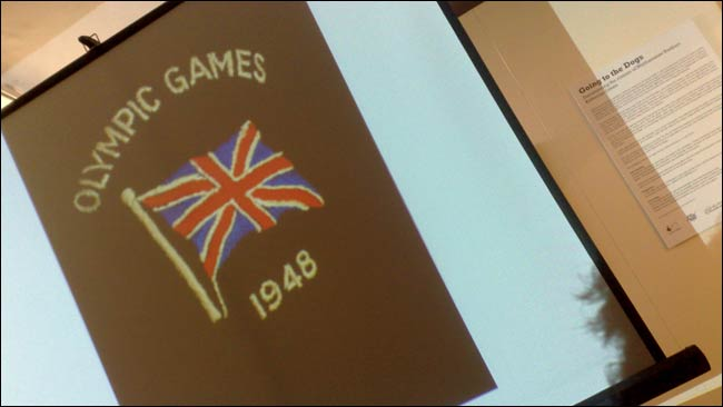 1948 Olympic badge seen on Katherine's slides