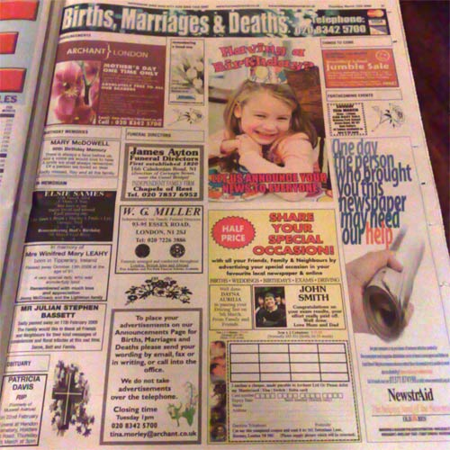Births, deaths and marraiges page in the Muswell Hill Journall