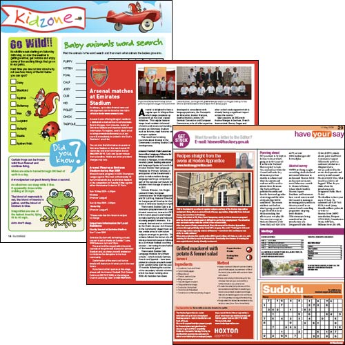 Screengrabs from Enfield, Hackney and Islington council magazines