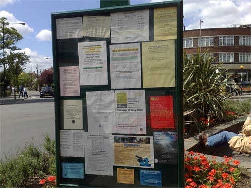 Public noticeboard on Fortis Green Road