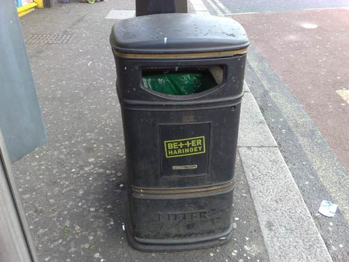 Better Harringey branded rubbish bin