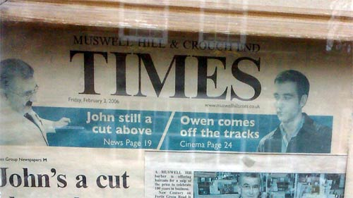 Muswell Hill Times in the barber's window