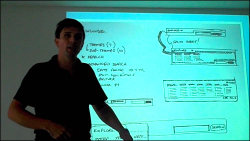 James Box presenting a wireframe sketch