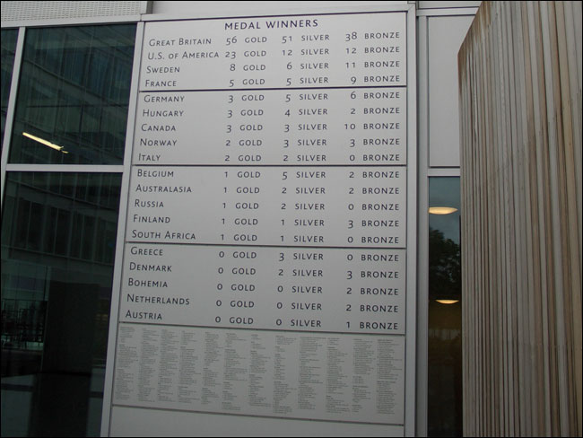 1908 Medal Table on the BBC Broadcast Centre building in White City