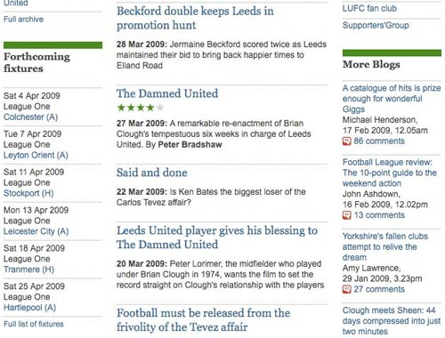 Leeds United Guardian keyword page