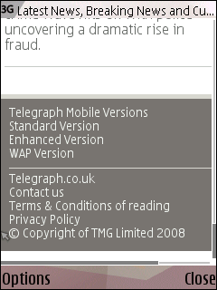 Mobile options in The Telegraph footer