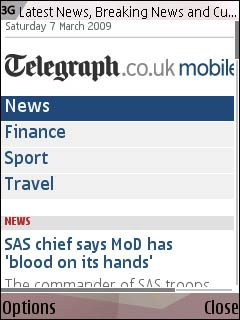 Telegraph mobile homepage