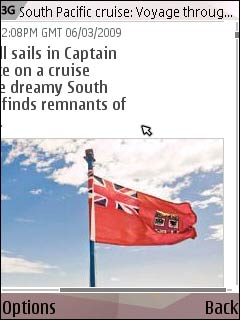 Picture scrolling on The Telegraph's mobile site - Nokia N95