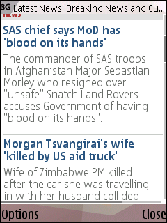 The Telegraph's mobile homepage with content summaries