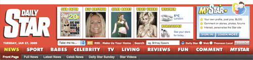Daily Star masthead and navigation