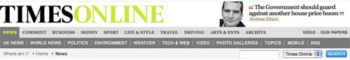 Times Online navigation