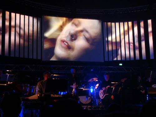 h2g2 on the screen at the Radiophonic Workshop gig