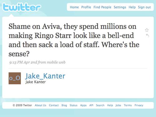 Critical tweet about Aviva