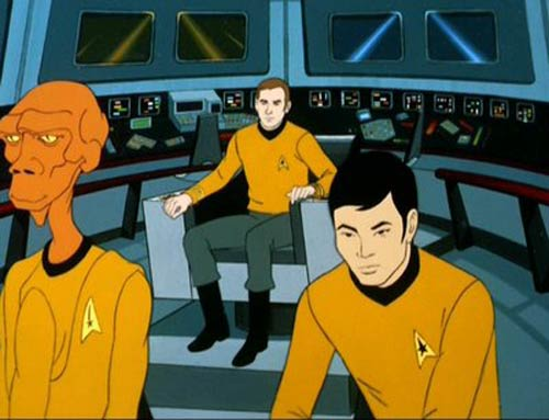 Lieutenant Arex on the animated USS Enterprise bridge