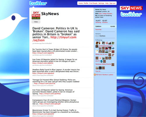 Sky News Twitter feed