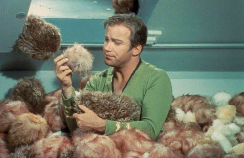 Kirk overwhelmed by Tribbles