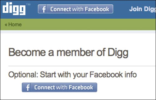 Register for Digg using details from Facebook