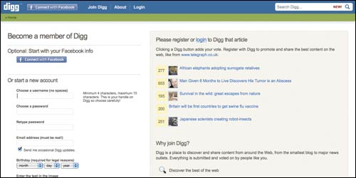 Digg sign-up page
