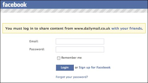 Facebook 'must log in to share' message