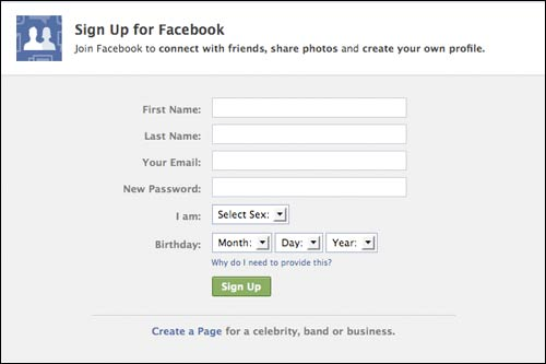 Facebook sign-up page
